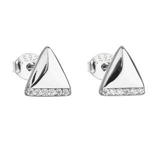 Stříbrné náušnice trojúhelníky s kamínky