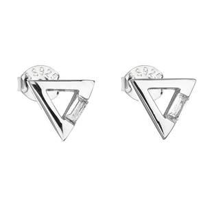 Stříbrné náušnice trojúhelníky se zirkonem