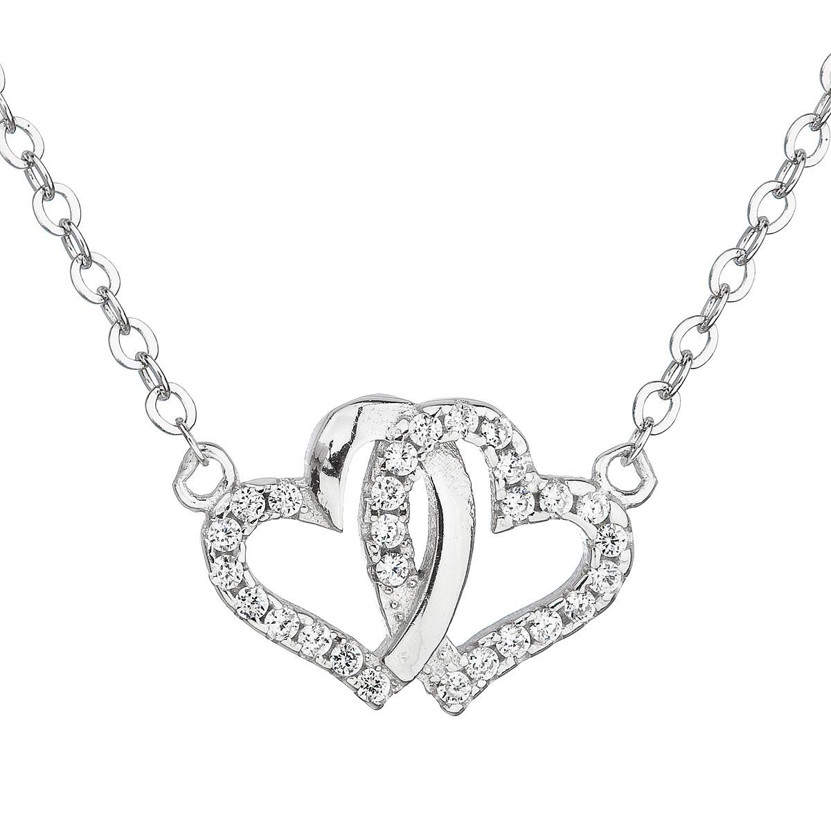 Stříbrný náhrdelník se zirkonem bílé srdce EG4060