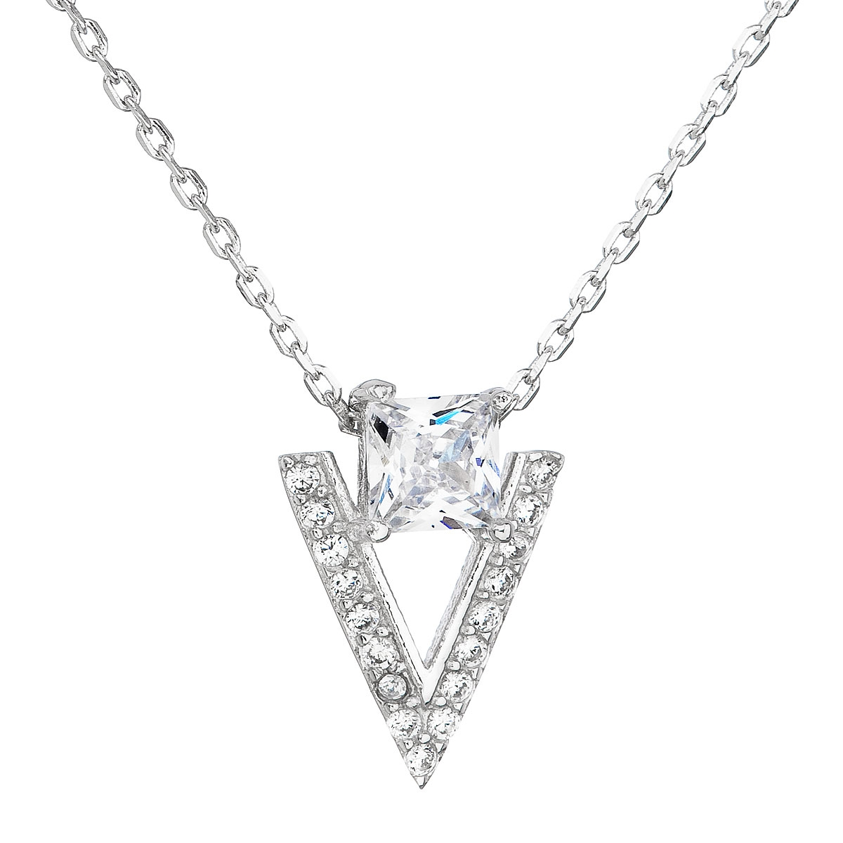 Stříbrný náhrdelník se zirkonem bílý trojúhelník EG4069