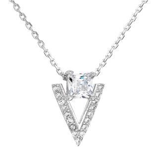 Stříbrný náhrdelník se zirkonem bílý trojúhelník