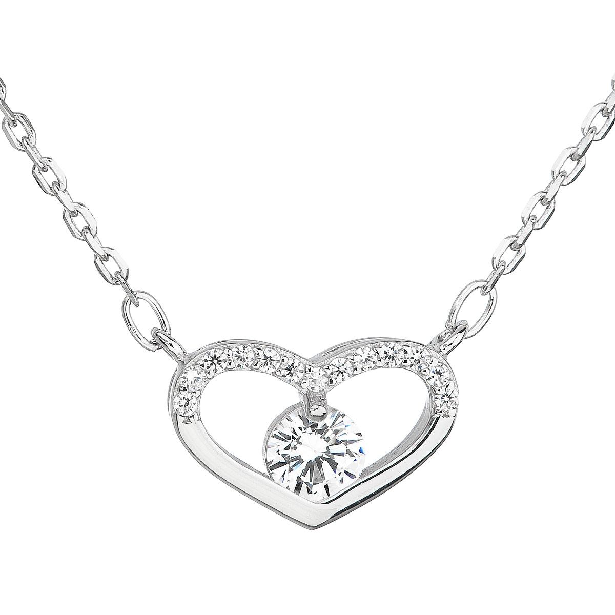 Stříbrný náhrdelník se zirkonem bílé srdce EG4061