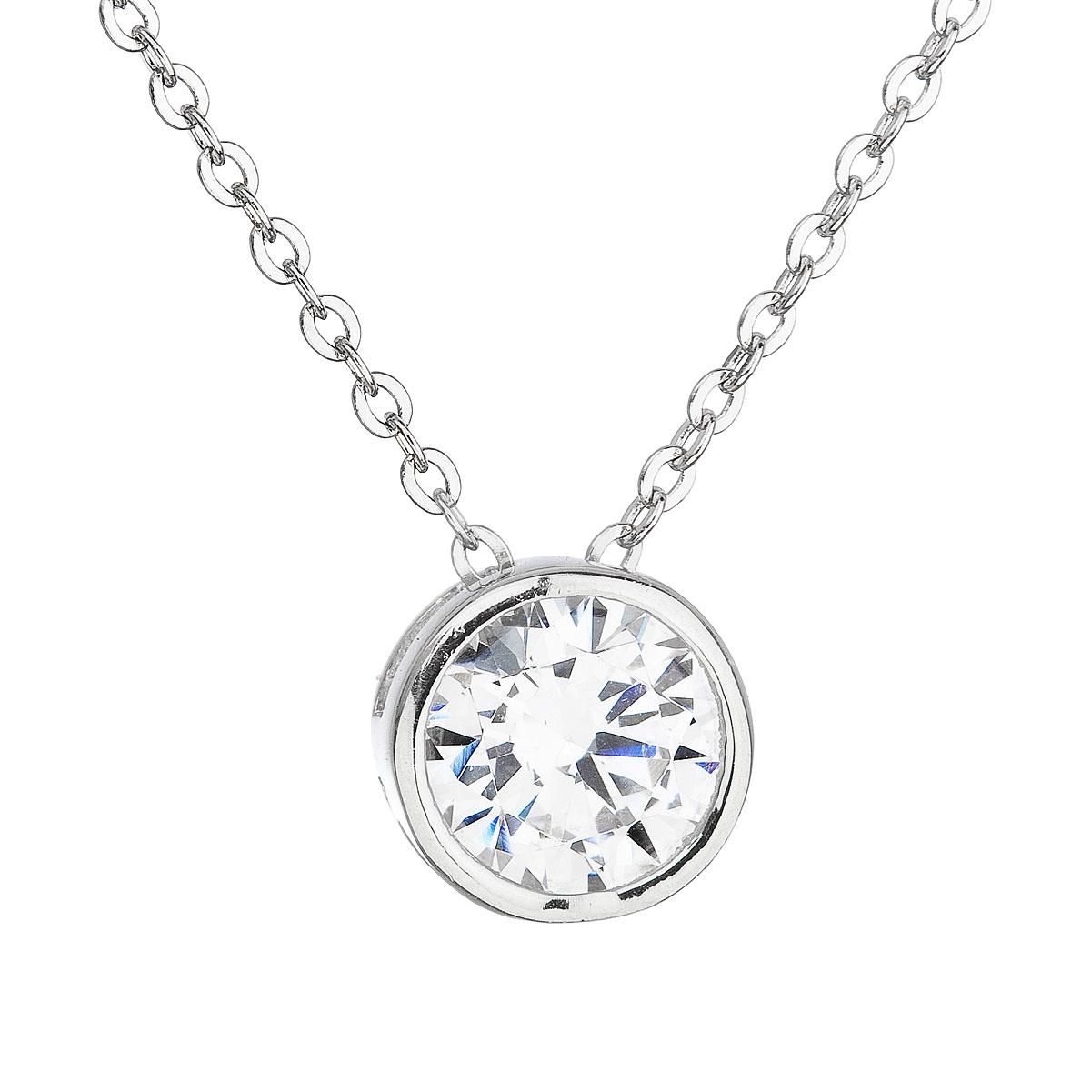 Stříbrný náhrdelník s kulatým čirým zirkonm EG4074