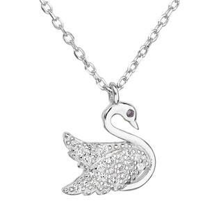 Stříbrný náhrdelník se zirkonem bílá labuť