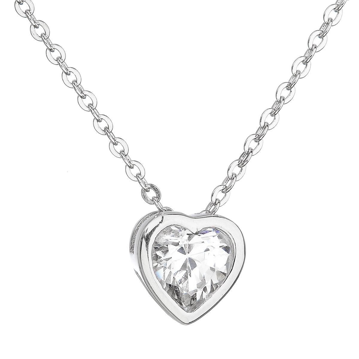 Stříbrný náhrdelník se zirkonem bílé srdce EG4062