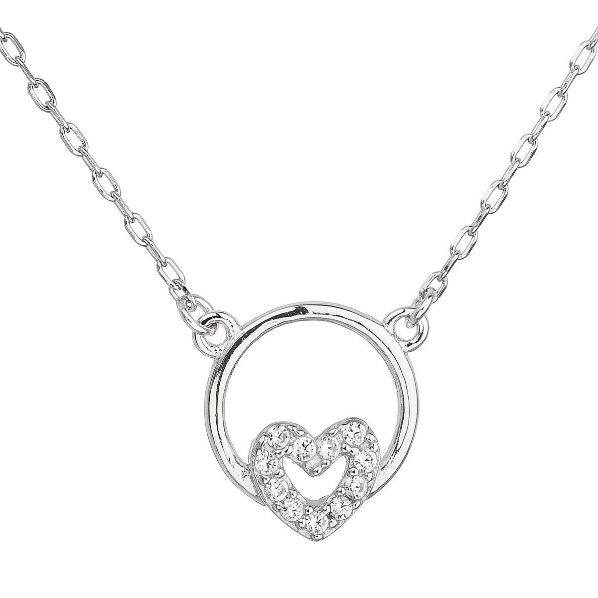 Stříbrný náhrdelník se zirkonem bílé srdce EG4063