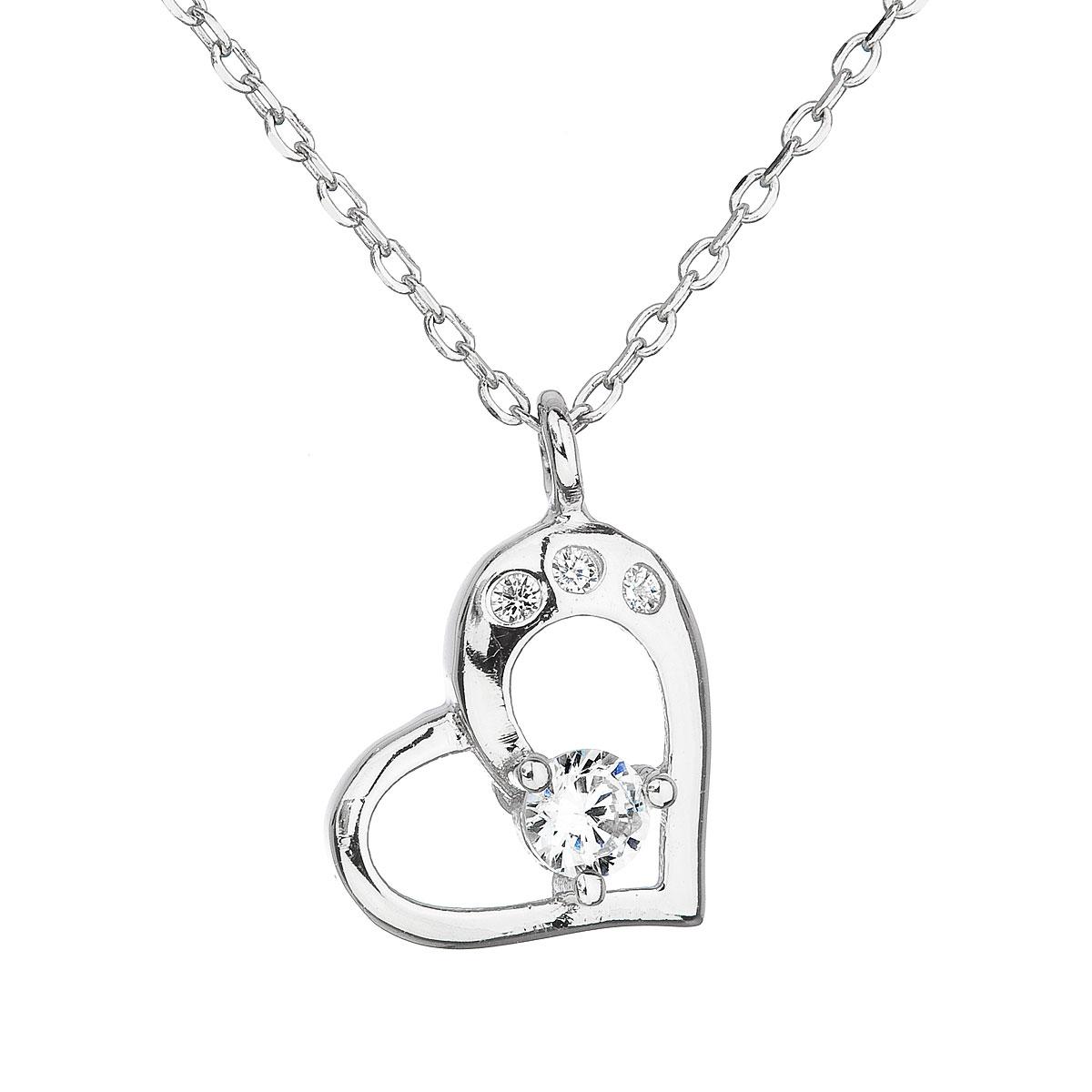 Stříbrný náhrdelník se zirkonem bílé srdce EG4064