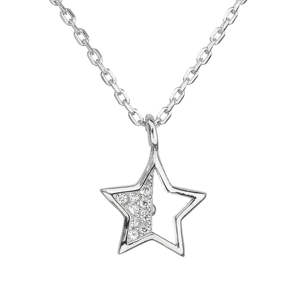 Stříbrný náhrdelník se zirkonem bílá hvězdička EG4058