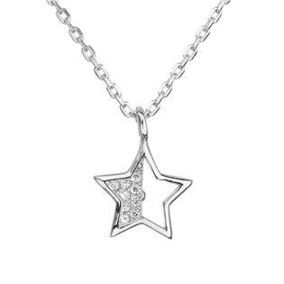 Stříbrný náhrdelník se zirkonem bílá hvězdička