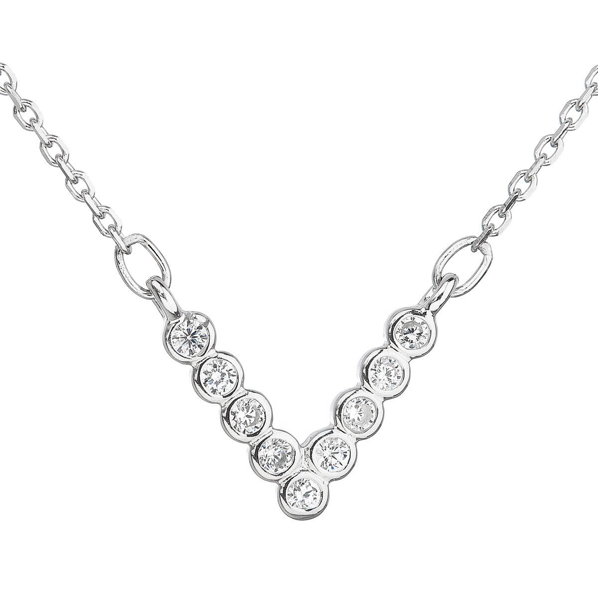 Stříbrný náhrdelník s čirými zirkony EG4076