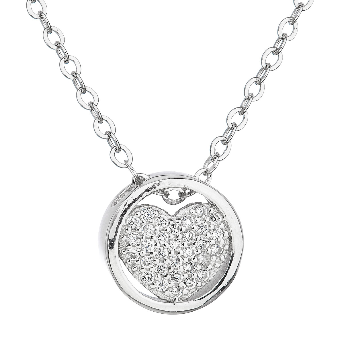 Stříbrný náhrdelník se zirkonem bílé srdce EG4065