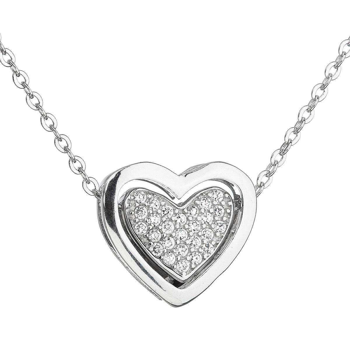 Stříbrný náhrdelník se zirkonem bílé srdce EG4066