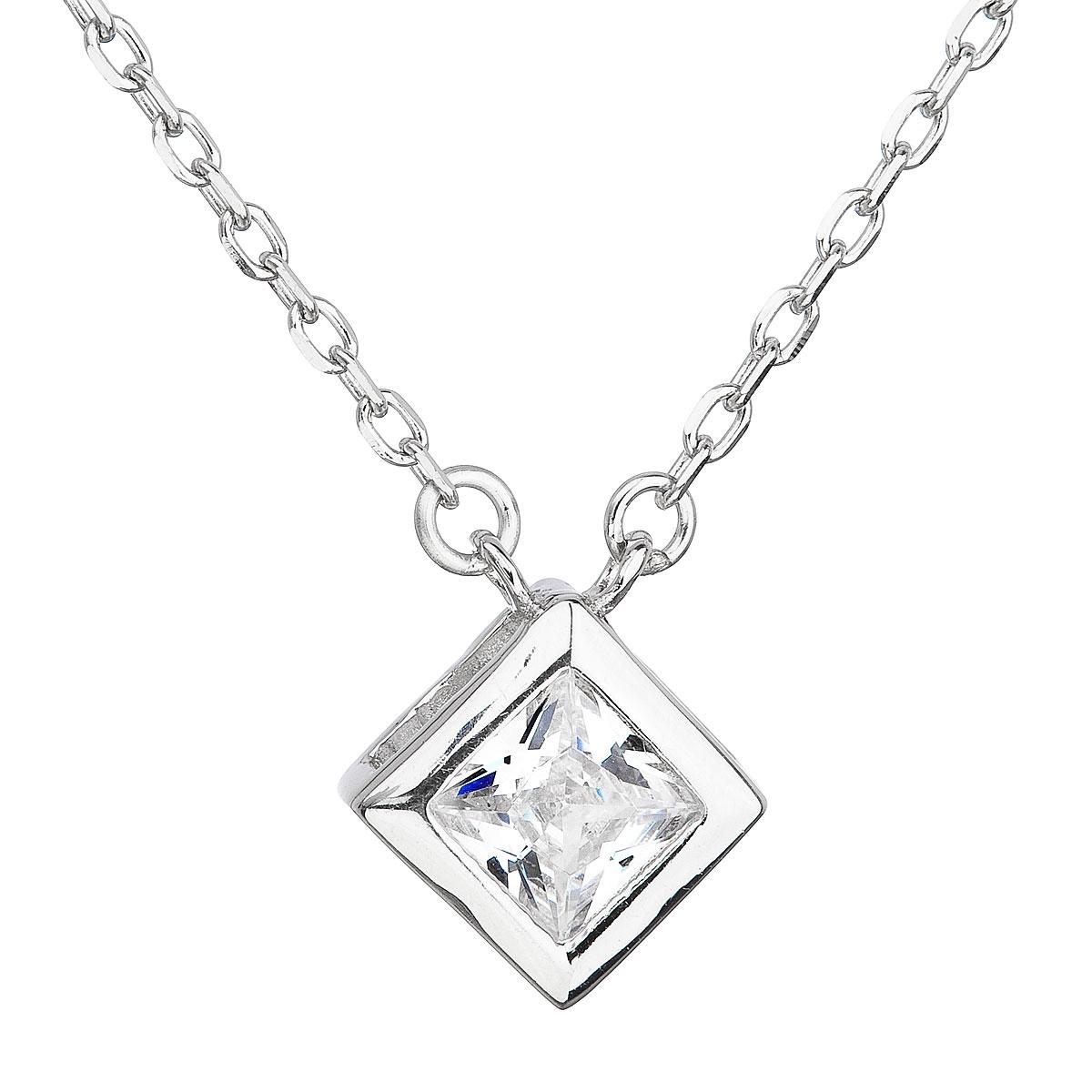 Stříbrný náhrdelník se čtvercovým zirkonem EG4067