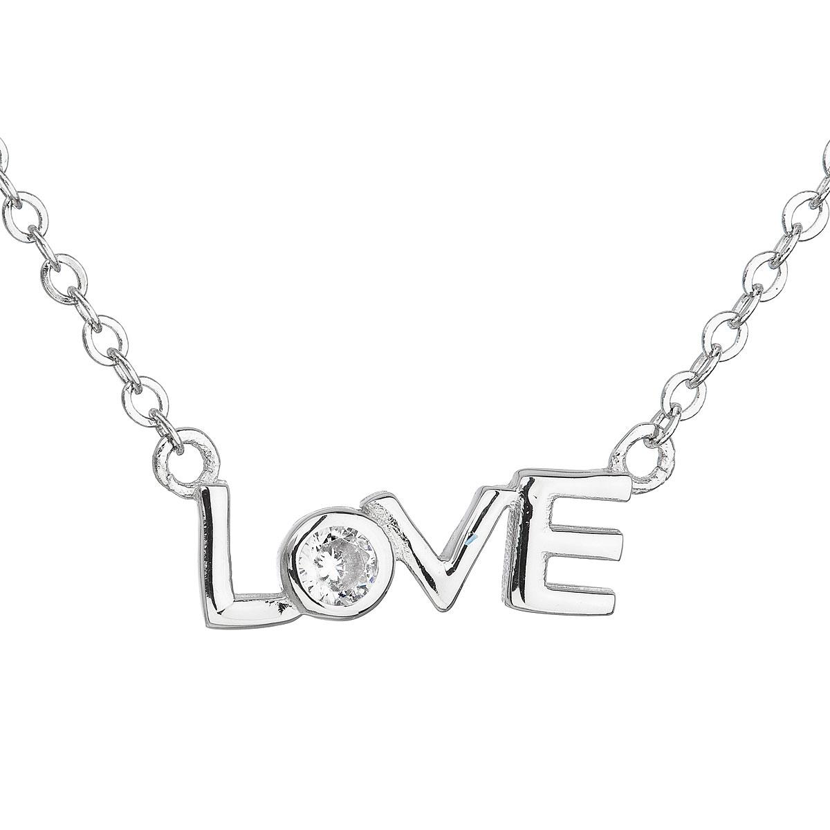 Stříbrný náhrdelník se zirkonem v bílé barvě EG4077