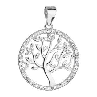 Stříbrný přívěsek se zirkony v bílé barvě strom života