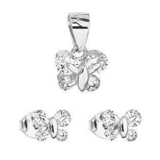Sada šperků se zirkonem náušnice a přívěsek bílý motýl