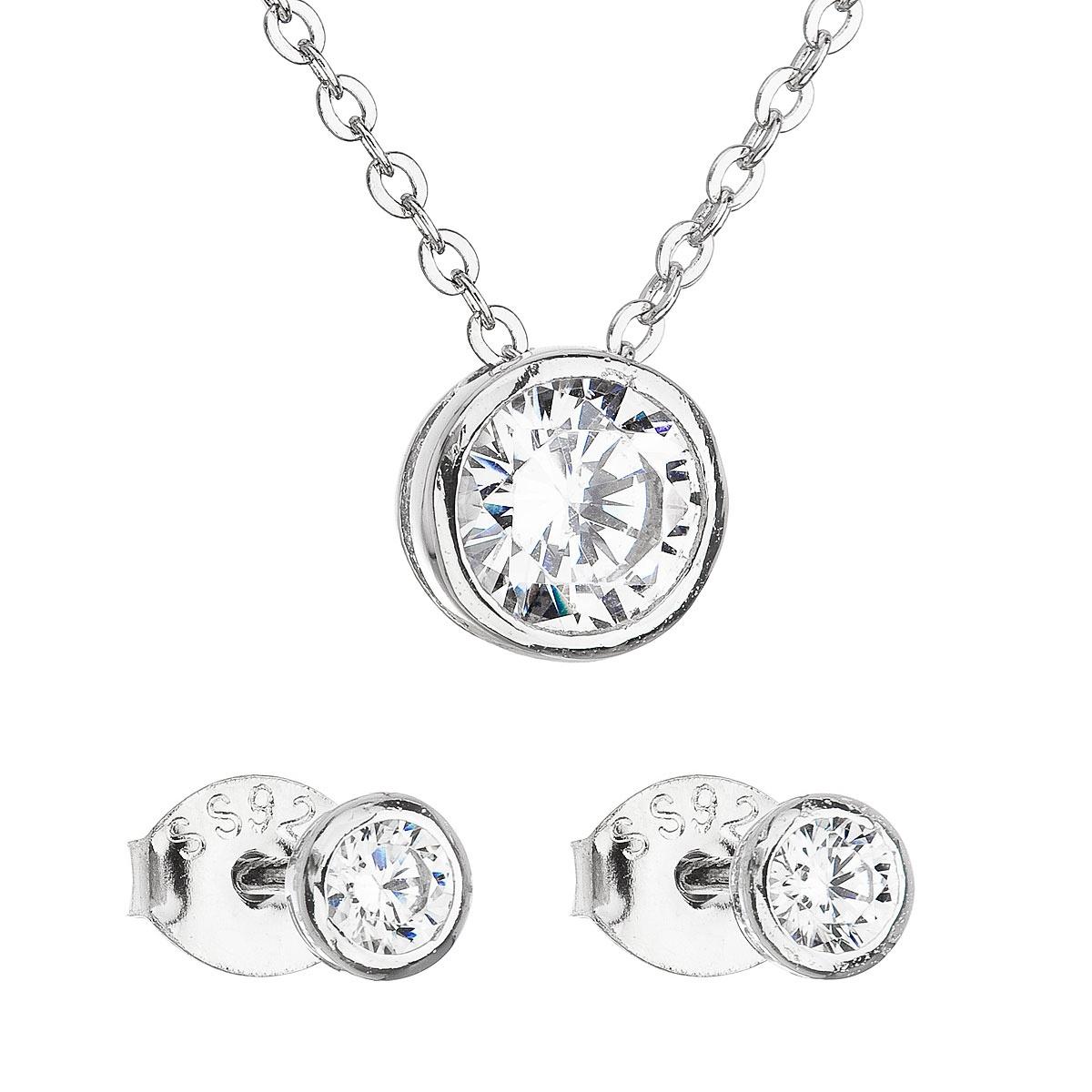 Sada šperků se zirkonem v bílé barvě náušnice a náhrdelník EG3118