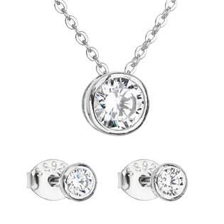 Sada šperků se zirkonem v bílé barvě náušnice a náhrdelník