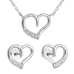 Sada šperků se zirkonem náušnice a náhrdelník bílé srdce
