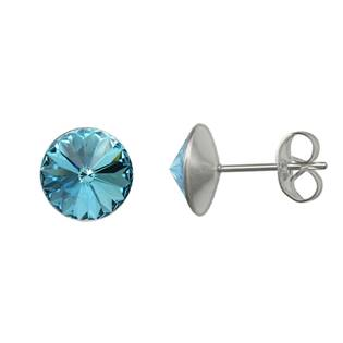 Ocelové náušnice Crystals from Swarovski® 6mm, AQUAMARINE
