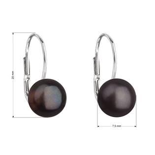 Stříbrné náušnice visací s černou říční perlou