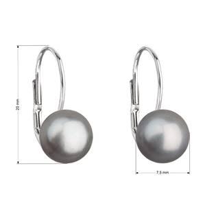 Stříbrné náušnice visací s šedou říční perlou