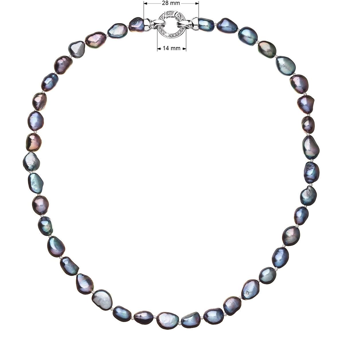 Perlový náhrdelník z pravých říčních perel modrý EG4231