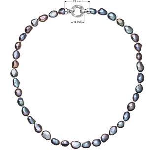 Perlový náhrdelník z pravých říčních perel modrý