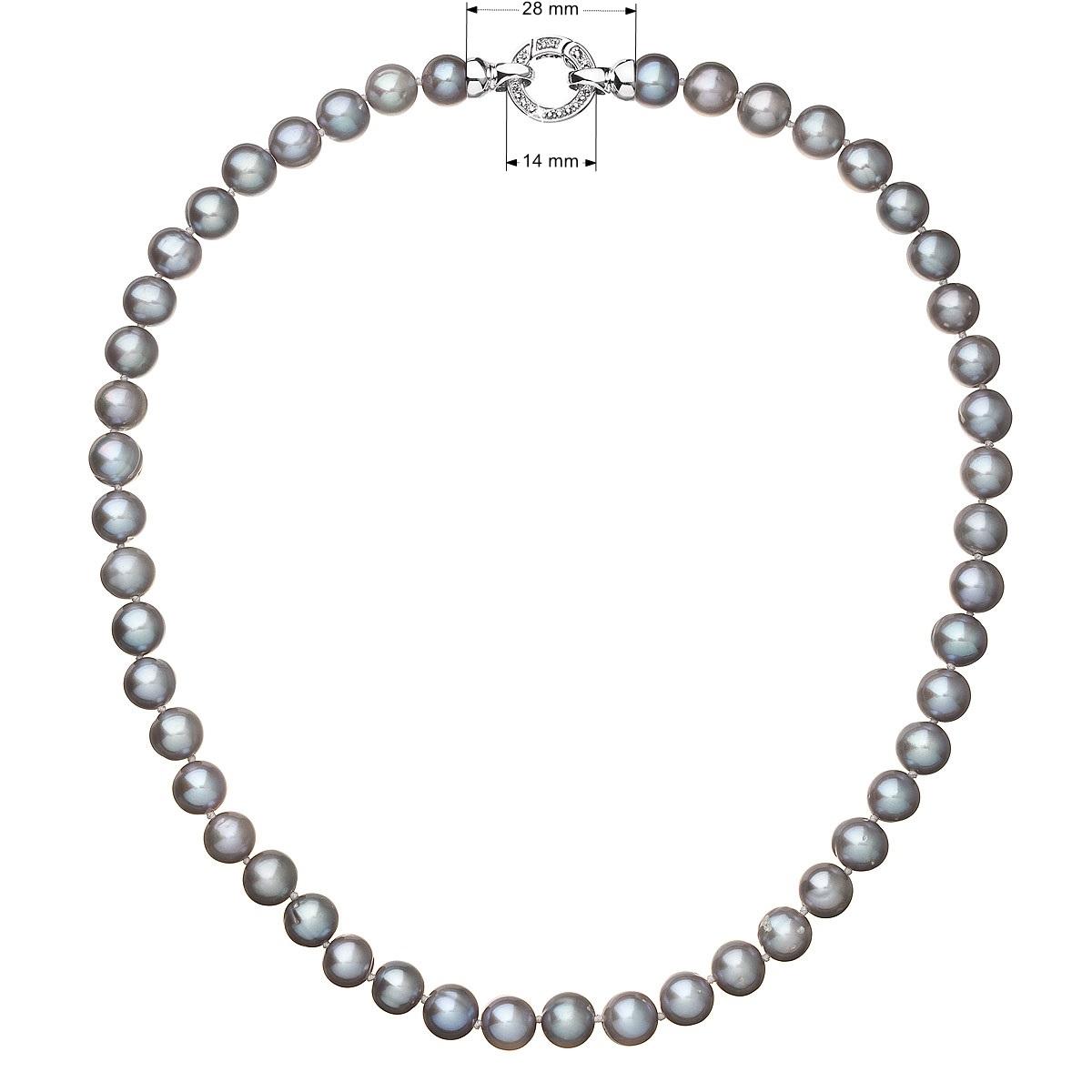 Perlový náhrdelník z pravých říčních perel šedý EG4232