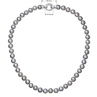 Perlový náhrdelník z pravých říčních perel šedý