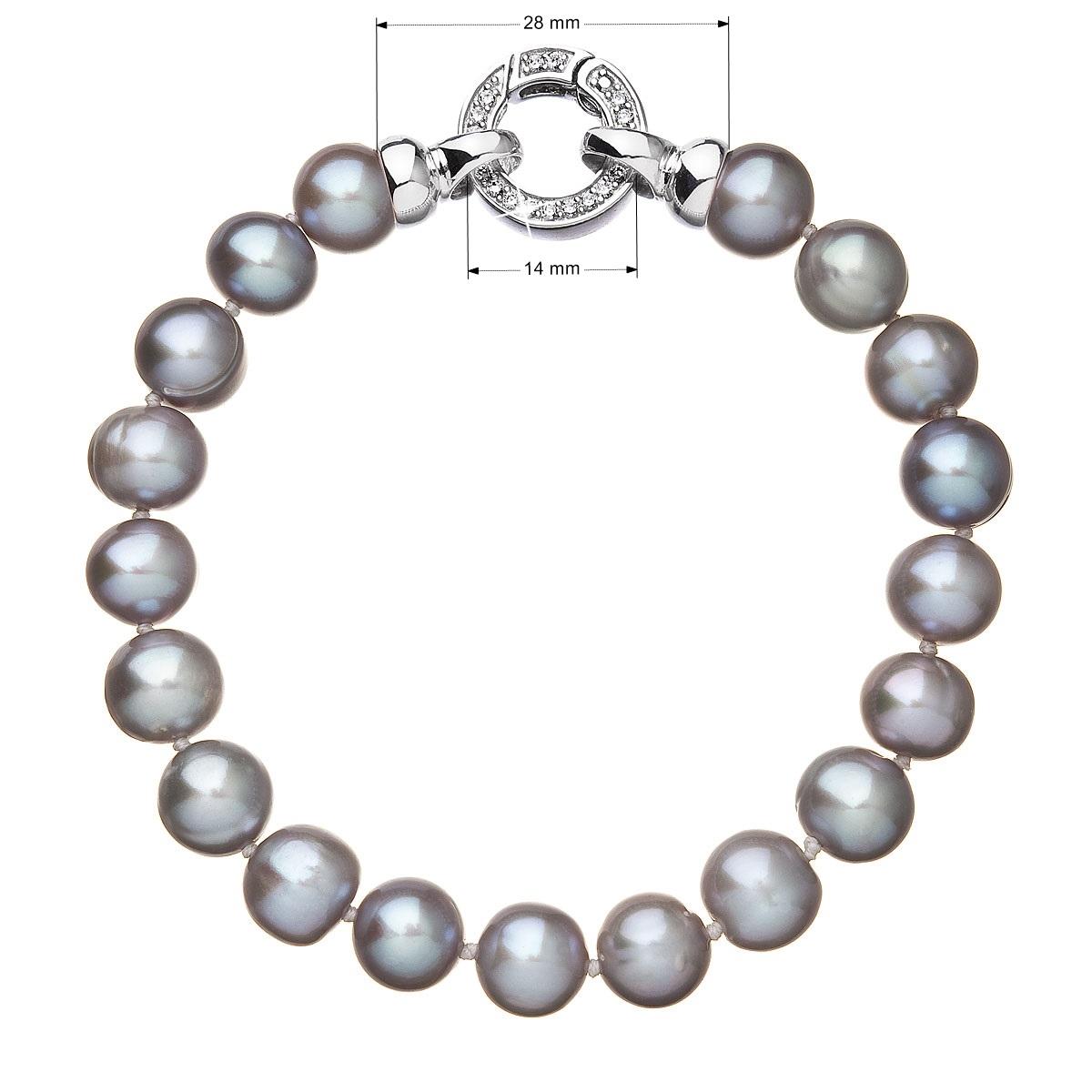 Perlový náramek z pravých říčních perel šedý EG7244