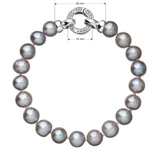 Perlový náramek z pravých říčních perel šedý