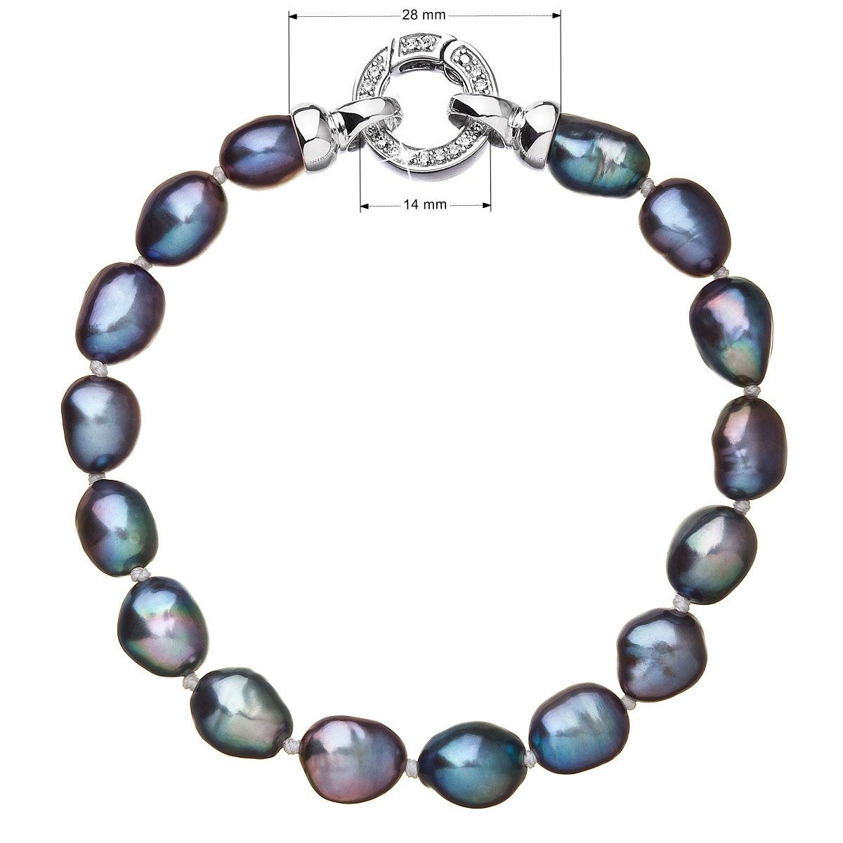 Perlový náramek z pravých říčních perel modrý EG7245