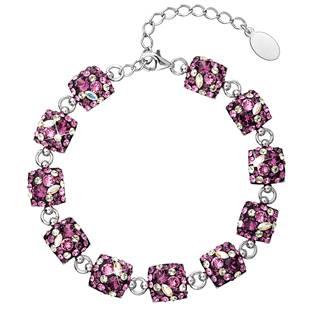 Stříbrný náramek s krystaly Crystals from Swarovski® Amethyst