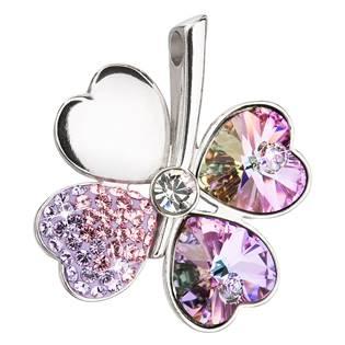 Stříbrný přívěsek s krystaly Swarovski fialový čtyřlístek  vitrail light