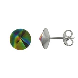 Ocelové náušnice Crystals from Swarovski® 6mm, RAINBOW