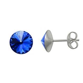 Ocelové náušnice Crystals from Swarovski® 6mm, SAPPHIRE