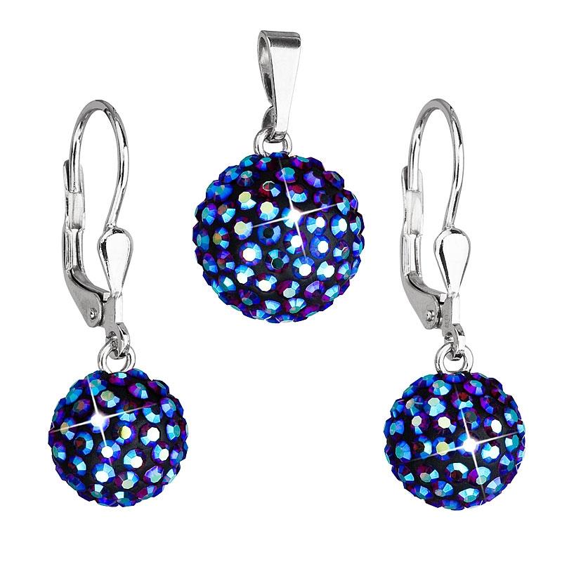 Strieborný set náušníc a prívesku s kryštálmi Crystals from Swarovski ® Bermuda Blue