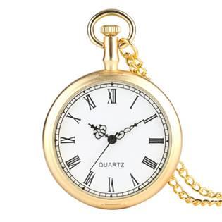 Šperky4U Kapesní hodinky otevírací zlacené - cibule - KH0070