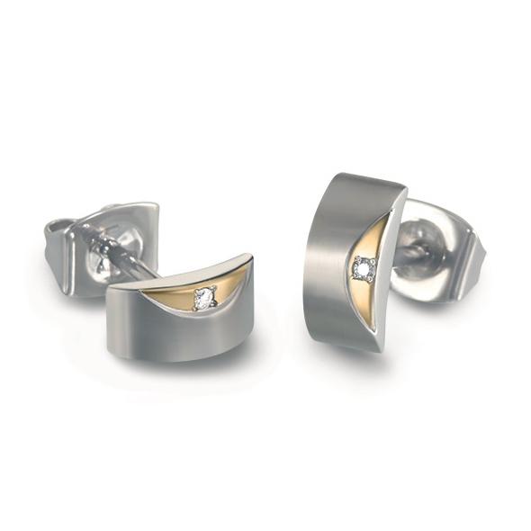 Titanové náušnice s diamanty 05007-03 B05007-03