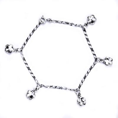 Stříbrný náramek s čirými kytičkami Crystals from Swarovski CS9007-C