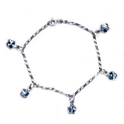 Stříbrný náramek s tyrkysovými kytičkami Crystals from Swarovski CS9007-Q