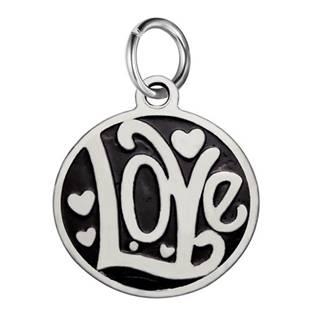Drobný ocelový přívěšek s kroužkem - Love