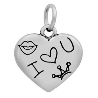Ocelový přívěšek - srdíčko I Love You