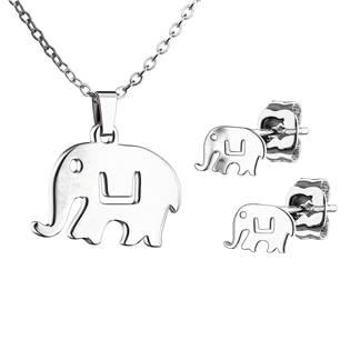 SET0069-ST Set šperků z chirurgické oceli, sloníci