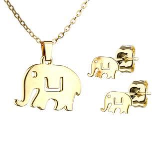 Zlacený set šperků z chirurgické oceli, sloníci