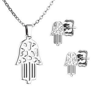 Set šperků z chirurgické oceli, hamsa ruka Fatimy