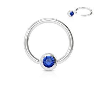 Piercing - kruh 1,2 x 8 mm, tm. modrá barva