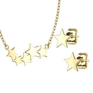 Zlacený set šperků z chirurgické oceli, hvězdičky