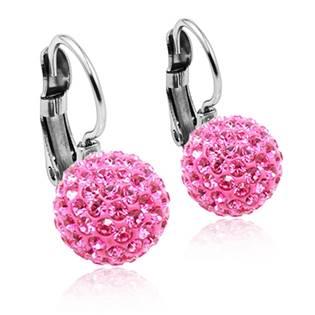 NSWS1-P Ocelové náušnice koule 10 mm Crystals from Swarovski® Pink